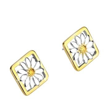 Factory price wholesale!Low price high quality 925 silver Quartet daisy stud earrings fashion jewelry free shipping 10pair/lot(China (Mainland))