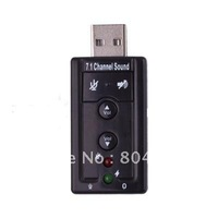 Free Shipping Brand New Cheap 1Pcs USB 2.0 External 7.1 Channel 3D Virtual Audio Sound Card Adapter+Wholesale