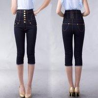 2014 Women summer slim blue/black single button high waist seven jeans lady's shank length trousers MAXI S M L XL XXL XXXL XXXXL