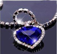 12 pcs/lot Titanic Heart of the Ocean Blue Heart Pendant Necklace N12005