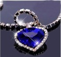 12 pcs/lot Titanic Heart of the Ocean Blue Heart Pendant Necklace N12005