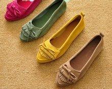 Women's Comfy Genuine Leather Suede Tassel Tiebow Oxford Heel Causal Shoes Plus