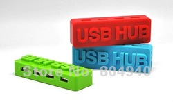 10pcs/Lot FreeShipping Mini 4 Port USB 2.0 HUB Special Design Brick Shaped HUB High Speed Multi Colors(China (Mainland))