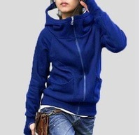 Free shipping Korean fashion plus size lady's thicken long sleeve winter cotton hoodied coat hot sale