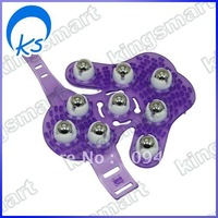 Hand-hold Roller Rolling Joint Massage Glove purple 80187