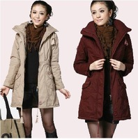 Free shipping 2012 fashion lady's plus size zipper warm winter cotton coat, casual slim fit women's thicken OL coat jacket