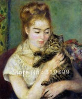 Oil Painting Reproduction,woman with a cat By Renoir oil painting on linen canvas,FreeShipping,handmade