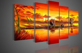 100% Hand painted Free shipping hot  sun giraffe  Lake forest elephants landscape  Oil Painting canvas5pcs/set wood Framed