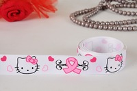 "Free shipping 7/8""  Cute hello kitty  breast cancer Grosgrain ribbon, ribbon hair bow print ribbon white fabric tape"
