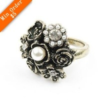 Fashion ancient bronze color vintage owl with black eye alloy ring, finger ring #R20