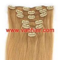 "Guarantee100% human hair 15"",18,20"",22""7PCS Clip-in Remy Human Hair Extensions #27 dark blonde,Straight"
