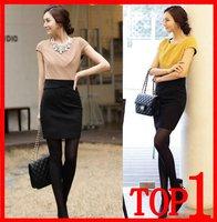 2014 women's OL outfit all-match slim hip short-sleeve high waist colorant match dress Women's Business Office Dress Lady