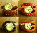 Vintage Bronze Lady Spike Leather Wrap Around Watch 4 colors to pick from . 12pcs/lot
