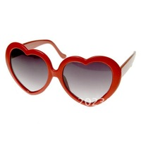 wholesales 100pcs/lots Large Oversized Thin Frame Lovely Heart Shaped Womens Fashion Sunglasses