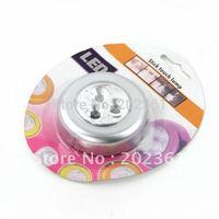 wholesales 100pcs/lots Mini Cordless 3 LED Powered Stick Tap Touch Lamp Light