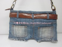 Hot sale Free Shipping Jeans shorts Lady's bag; Jeans bag; Korean style jeans messenger bag;wholesale and retail Promotion!!