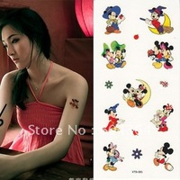 water and sweat proof rub-on transfer tatoo stickers/mickey shape easy for use and easy for cleanning-fans articles