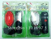 5LED Bicycle Head + Rear Tail Warning Light Set, 5 Leds Bike Safety Caution Flash Lamp Lights Sets, via EMS Shipping 40pcs/lot