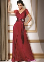 Elegant Red V-neckline delicate pleating Chiffon Cap sleeves A-line skirt Evening gown Prom Dresses