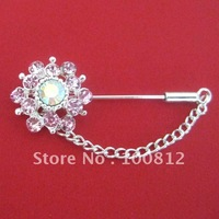 Free Shipping Rhinestones Flower Hijab Pins with Chain  12pcs/lot  mixed colors
