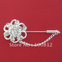 Free Shipping Rhinestones Flower Hijab Pins with Chain  12pcs/lot