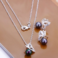 Free Shipping Wholesale 925 Sterling silver plated copper.New Arrival Necklace&Earring NE196
