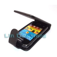 Black PU Leather Case Cover Pouch + LCD Film For Samsung Galaxy Y Duos S6102