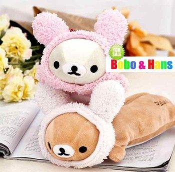 New cute Rilakkuma style Pencil bag / plush fabric pen pouch & Cosmetic bag / Fashion Gift / Wholesale