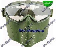 Full Face Tacticfal Proctive Goggle Mask Green free shipping