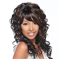 Promotion Freeshipping  New Stylish Curly Dark Brown Long  Lady's Fashion Sexy Hair  Synthetic  Natural Wig/Wigs
