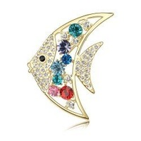 D002 Garment accessories wholesale Austria crystal brooch-angel fish Mixed colors Free shipping