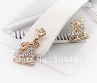 Vintage Bowknot Earring Two Colors Imperial Crown Ice Skates Plated Elegant Earring Jewelry Free Shipping