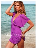 New Sexy Beach Women Lady Swimsuits Bikini Cover Up Tops Deep V Neck Skirt Dress