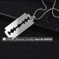 Minimum order=15USD(Can mix order)Double-sided polishing - Razor blade necklace Titanium steel jewelry/Free shipping XL-20738
