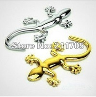 5 pcs/lots 3D Gecko Car Stickers Small Automobile Label Chrome Badge Emblem Decal Made Of PVC / METAL New Arrival N054