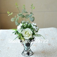 New Decoration  Artificial Rose  Vase Set decorative flowers FL072-2 in wedding accessories for diy party