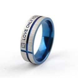 "JCR033 Fashion Men's Titanium Stainless Steel Ring ""Love Only You"" With Zircon(China (Mainland))"