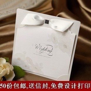 CI2113 Silver Elegant Ribbon Luxury 50pcs*lot Wedding Invitation Card Wedding Invites free customized freeshipping with envelope(China (Mainland))