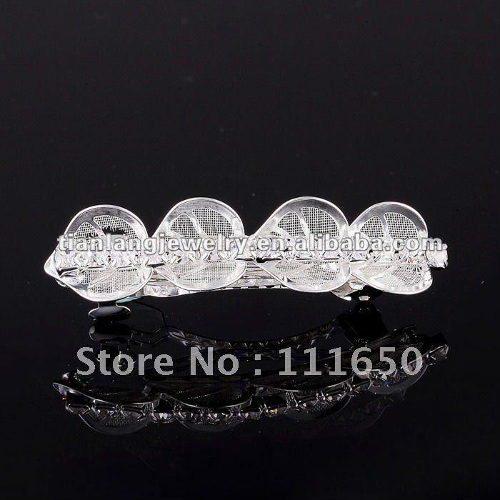 newest manufacture 6cm silver rhinestone flower hair barrette,12pcs/pack(China (Mainland))