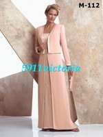 Free shipping 2013  fashion new style pink  Mother of the Bride Dress Mother of Bride Dress with Loose coat custom