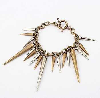 Min.order is $10 (mix order) Free Shipping Fashion Jewelry Punk bullet rivet of the cones Bracelet BK-0030