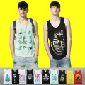 free shipping 2012 NEW Men&#39;s fashion printing Vests sleeveless garment TShirts 100% Cotton Tank Tops sleeveless T-shirts TS1302