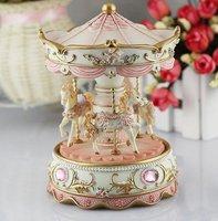 creative gift present princess love girl music box musical box resin carrousel design freeshipping