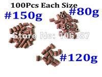 Free Shipping 100Pcs Each Size 150# /120#/80#Nail Sanding Bands Nail Drill Bits Band For Nail Art