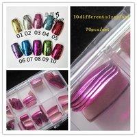 Wholesale 5set/lot Rainbow purple metallic full cover nail tips in case False tips 70pcs/set, Free shipping #HJM-08