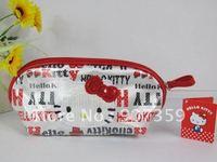 Hot sell Hello Kitty cosmetic bag/case makeup bag purse wallet pencil bag Free Shipping 10pcs/lot