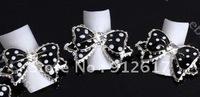 Big 15X25MM Black Dotted 3D Alloy Bow Tie Rhinestones Nail Art Glitters DIY NEW