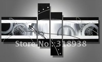 Framed Hand Painted 4 panels black white abstract lines group painting canvas art home decoration wall art  Free shipping CH-103