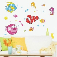 Free shipping Lovely undersea world wall paste furniture accessories wall decals sticker stickers home decor