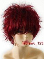 Short 30cm Burgundy Red Spiky Goth Rock Cosplay Wig 118